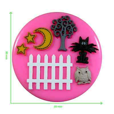 et Fence Owl Moon & Stars Silicone Mould by Fairie Blessings (Black Picket Fence)