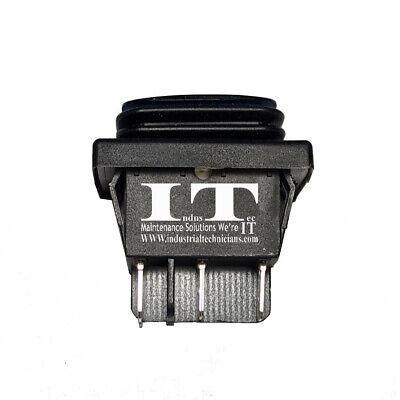 Industec Maintained Rocker Waterproof Dpdt 20a 6 Pin Spade Blue Button Reset Dc