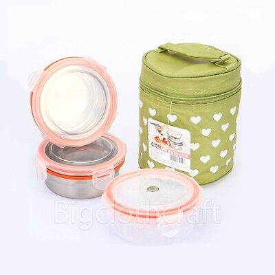 STENLOCK Stainless Steel Round Airtight Lunch Box Food Container 3pcs SET