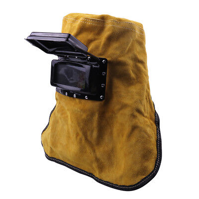 Yellow Leather Hood Welding Helmet Protect Eyes Face Mask Filter Lens