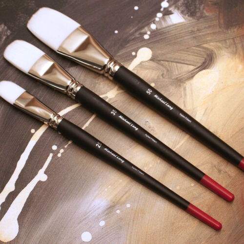 Michael Lang Artist Brushes Set, Exclusive Design 3 Pack Filbert Painting Brush