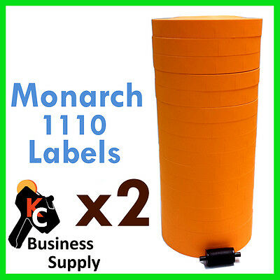 34000 Labels Fl Orange For Monarch 1110 32 Rolls - 2 Sleeves