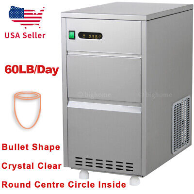 60lbsday Auto Nugget Bullet Ice Maker Commercial Countertop Machine Stainless