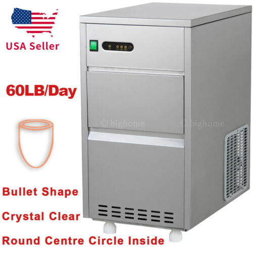 60LBS/day Auto Nugget Bullet Ice Maker Commercial Countertop Machine Stainless