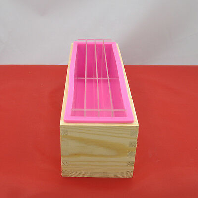 3in1 Rectangle Silicone Soap Mold Wooden Box Acrylic Rendering Separator 1200ML