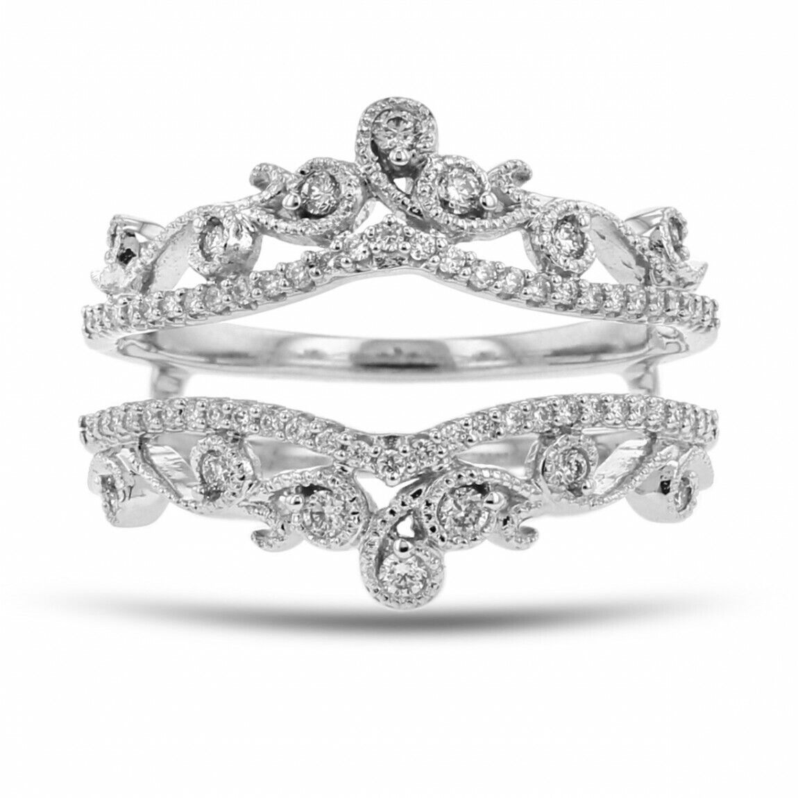 0.55 Ct Round Cut Diamond 18k White Gold Over Enhancer Wrap