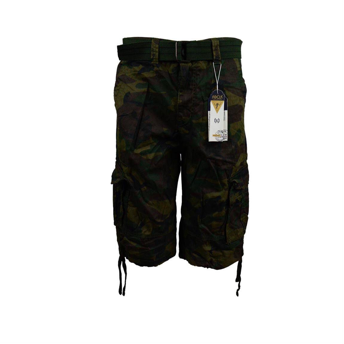 Men's Army Shorts Camouflage Belt Focus 32 34 36 38 40 42 44 Cargo Shorts Camo