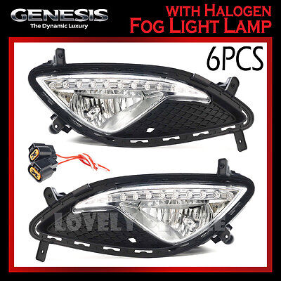 (For Hyundai Genesis Coupe 2013)New OEM Fog Light Lamp + Cover + Connect LH & RH