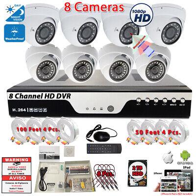 1080p HD 8 Camera CCTV Security Camera Surveillance System HD Home Office w 2TB
