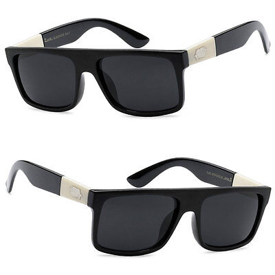 LOCS Biker Cholo Gangsta OG Style Mens Flat Top Designer Sunglasses - Black (Locs Mens Cholo Biker Sunglasses)