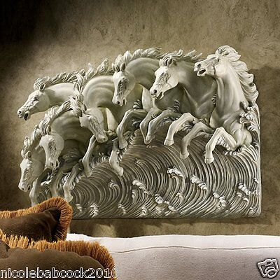 Neptune's Horses of the Sea Sculptural Wall Frieze Designer Accent Home Decor