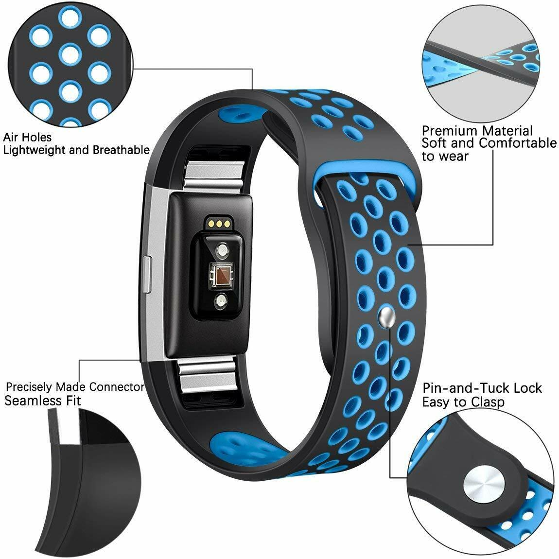 Replacement Silicone Sports Strap Wrist Band Bracelet For Fitbit Charge 2 / 2 HR 3