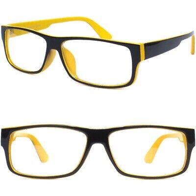 BLACK AND YELLOW FRAME Clear Lens Glasses Nerd Rectangular For Men or (Black And Yellow Glasses)