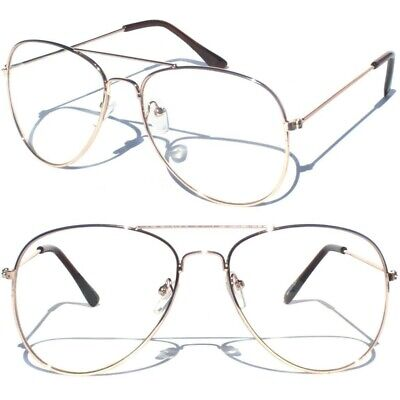 Metal Frame Gold Color Aviator Clear Lens Glasses Classic Tear Drop Wire (Clear Gold Aviator Glasses)