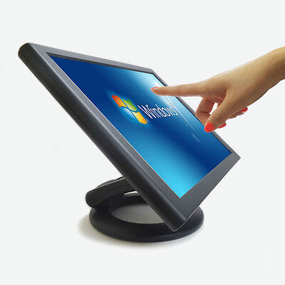 "NEW 17"" POS LCD Touch monitor Dual Hinge ED170 Screen 5 Wire DVI/VGA Kiosk"