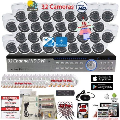 32 Channel Security Camera System 32x 1080p Cctv Night Vision Outdoor W/ 2tb