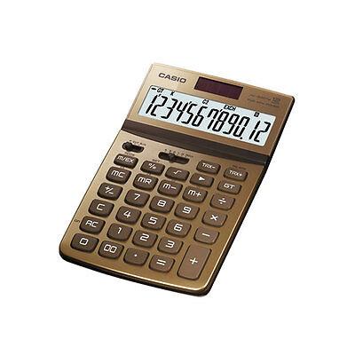 Genuine CASIO JW-200TW-GD 12-Digit Dual Power Solar Electronic Calculator - Gold