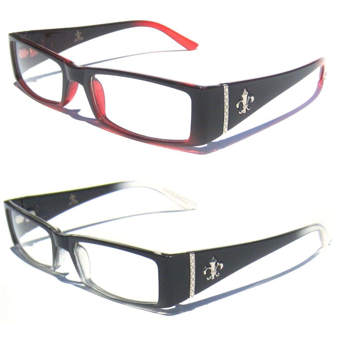 581b28c5649f Details about Fleur-de-lis Design CLEAR LENS GLASSES Retro Vintage Style  Polite Slim Frame New