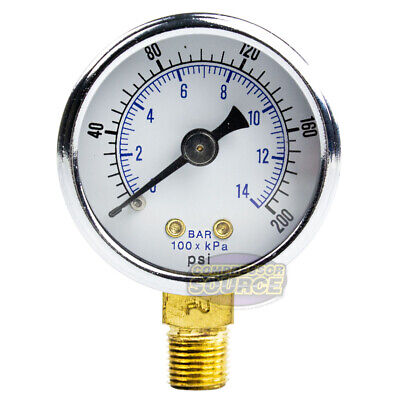 18 Npt Air Compressor Hydraulics Pressure Gauge 0-200 Psi Side Mount 1.5 Face