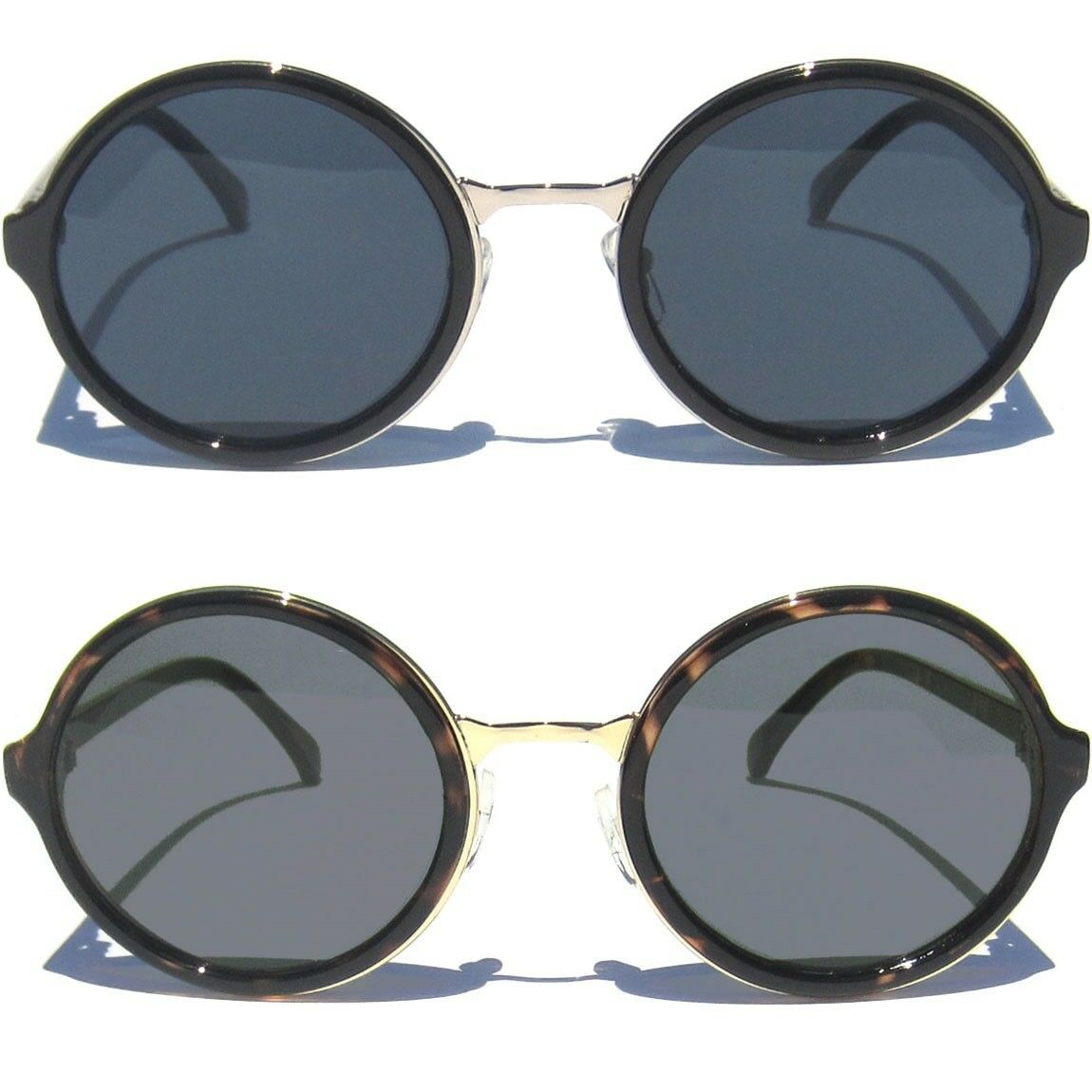 07d4e20bebca3 Details about ROUND RETRO SUNGLASSES Hipster Steam Punk Oval Style Frame  Shades