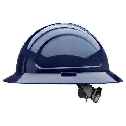 North Zone Full Brim Hard Hat with 4 Point Ratchet Suspension, Navy Blue
