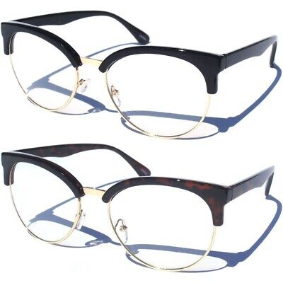 Large Oversize Half Frame Browline Sexy Vintage Style Clear Lens Glasses (Browline Glasses For Women)