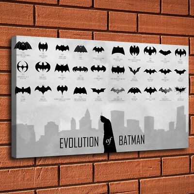 Evolution of Batman Logo Painting HD Print on Canvas Home Decor Wall Art Picture