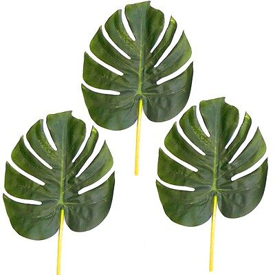3 Large Artificial 28cm Monstera Swiss Cheese Plant Leaves - Decorations Wedding