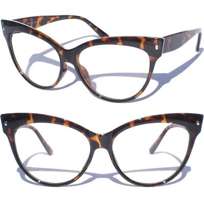 OVERSIZE CAT EYE Clear Lens Glasses Sexy Retro Vintage Style Tortoise Shell -