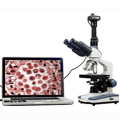 2000X LED Lab Trinocular Compound Microscope w 3D Mechanical Stage + USB2 Camera on Rummage