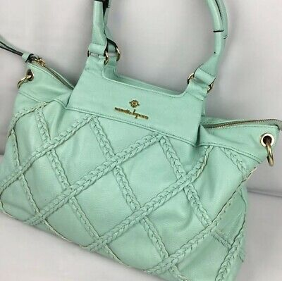 Nanette Lepore Handbag Shoulder Bag Purse Faux Leather Mint Green Gold Hardware - Mint Purse