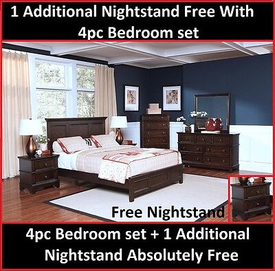 4pc Bedroom Furniture Sable Color Western Kingsize w/1Additional Nightstand Free