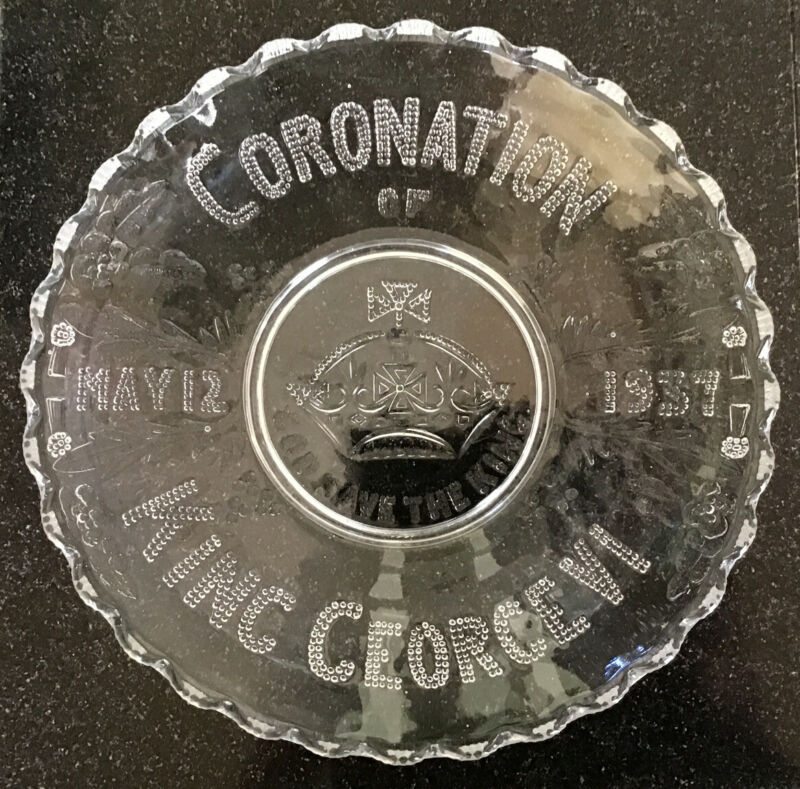 "Commemorative 9 3/4"" Glass Dish ~ Coronation Of King George Vl May 12th 1937"""