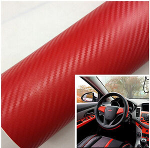 auto interior twill weave red carbon fiber vinyl wrap film sheet decal sticker ebay. Black Bedroom Furniture Sets. Home Design Ideas