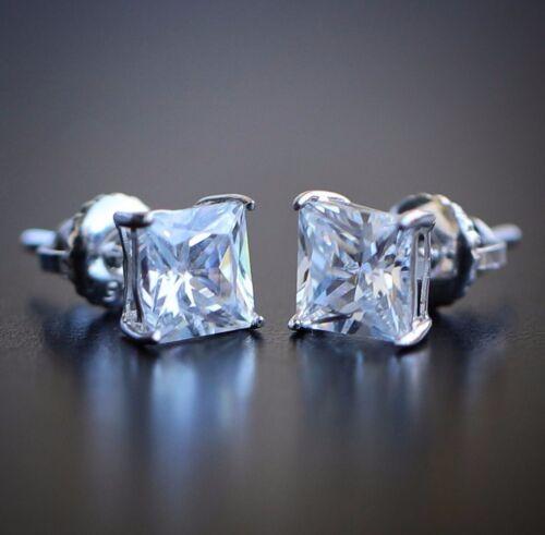 Sterling Silver Simulated Diamond Princess Cut Screw Back Stud Earrings