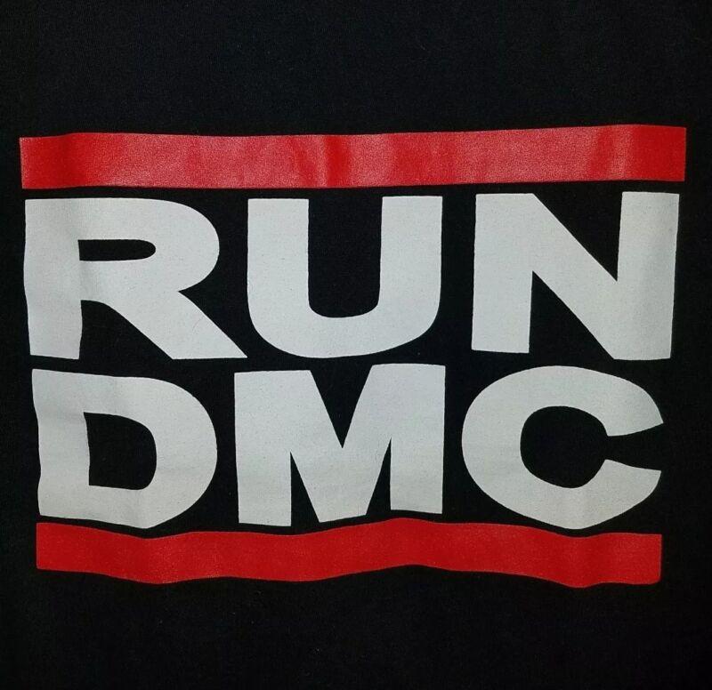 RUN DMC T-SHIRT PRE-OWNED BLACK SMALL OLD SCHOOL HIP-HOP NYC RAP MUSIC LEGENDS