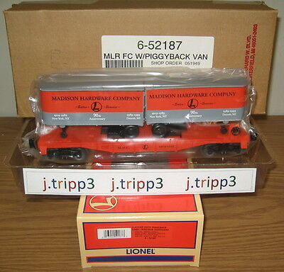 LIONEL 6-52187 MADISON HARDWARE PIGGYBACK FLATCAR TRAILER TRAIN NEW YORK O GAUGE