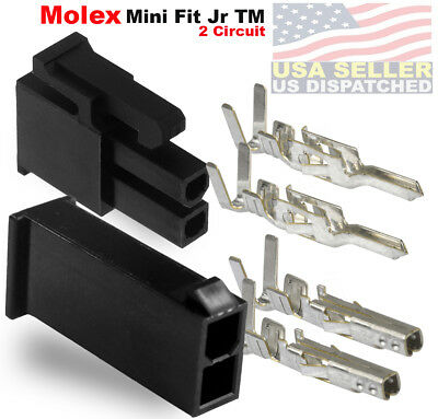 Molex 2 Pin Black Connector Pitch 4.20mm .0165 W18-24 Awg Pin Mini-fit Jr