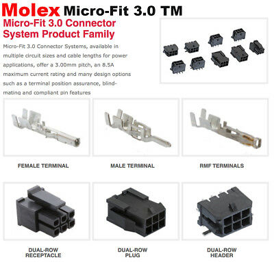 Molex 2 4 6 8 10 Pins Male Female Housing W Pins 20-24 Awg Micro-fit 3.0