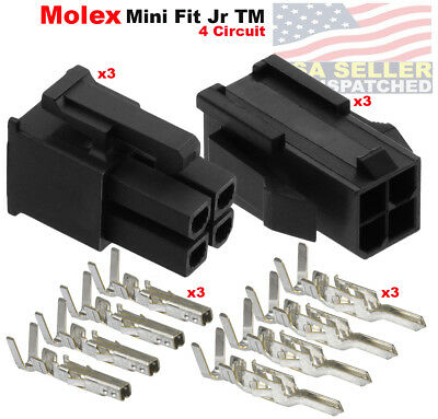 Molex 4 Pin Black Connector Pitch 4.20mm W18-24 Awg Pin Mini-fit Jr  3 Set