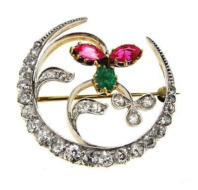 Brosche Nadel Anstecknadel 750er Gelb-Gold 18 K Rubine Diamanten