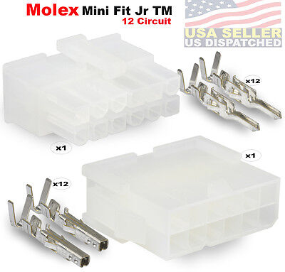 Molex 12 Pin Connector Lot 1 Matched Sets W18-24 Awg W Pins Mini-fit Jr