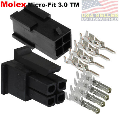 Molex 4 Circuits Male Female Housing W Pins 20-24 Awg Micro-fit 3.0
