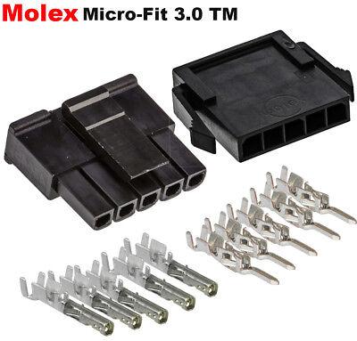 Molex Single Row 5 Pin Male Female Housing W Pins 20-24 Awg Micro-fit 3.0