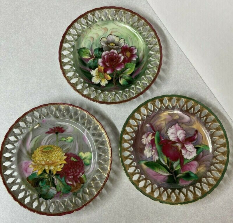 Vintage Chubu China Japan Japanese Decorative Floral Plates 3pc set Hand Painted