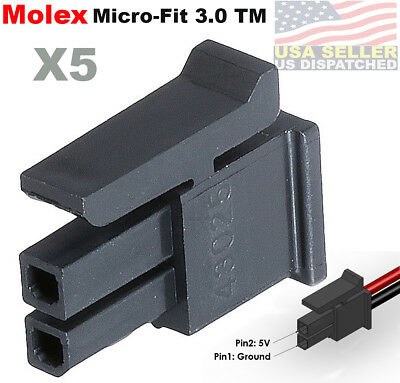 Molex Pack Of 5 Female Housing Receptacle Plug 2 Position Micro-fit 3.0