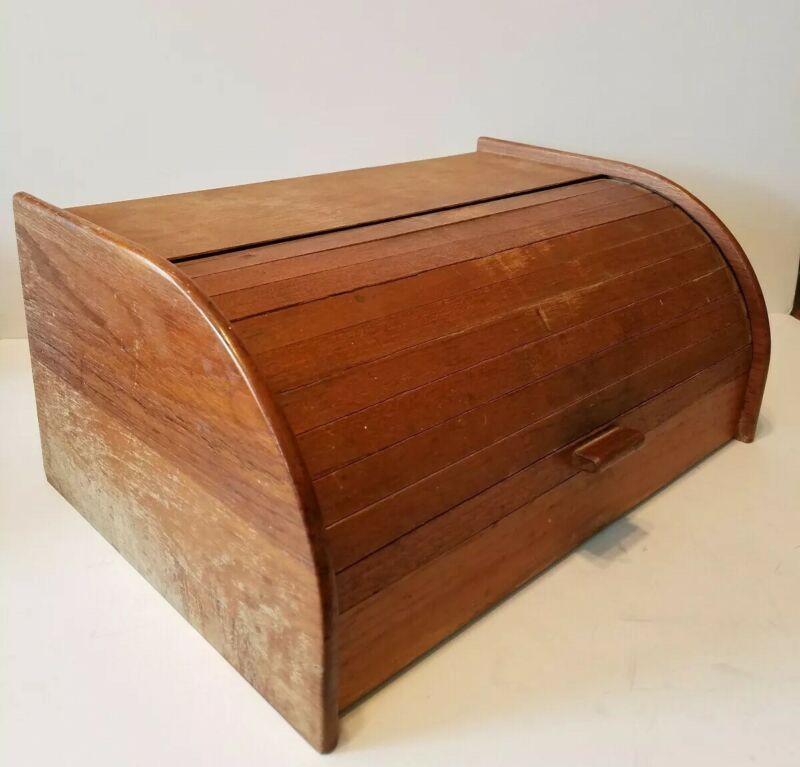 Vintage MID CENTURY Dolphin TEAKWOOD Roll Top BREAD BOX