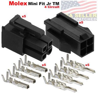 Molex 4 Pin Black Connector Pitch 4.20mm W18-24 Awg Pin Mini-fit Jr  5 Set