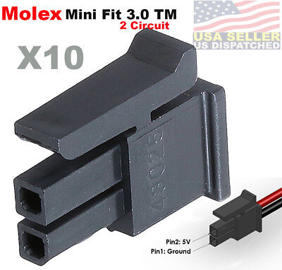 Molex Pack Of 10 Female Housing Receptacle Plug 2 Position Micro-fit 3.0