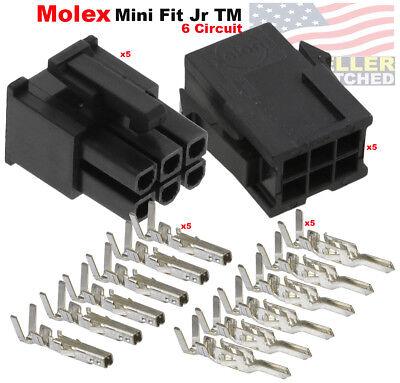 Molex 6 Pin Black Connector Pitch 4.20mm W18-24 Awg Pin Mini-fit Jr  5 Set